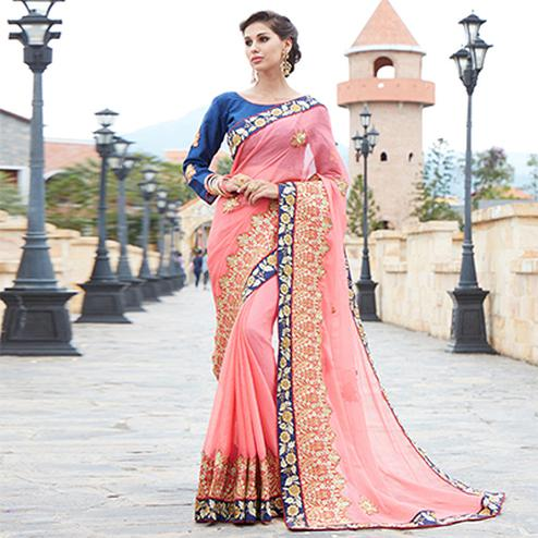 Graceful Pink Designer Saree