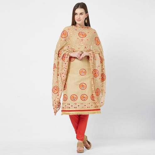 Viva N Diva Beige Colored Cotton Salwar Suit