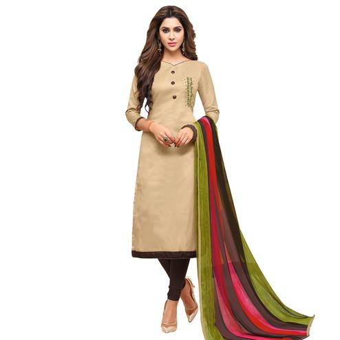 Viva N Diva Beige Colored Cotton Jacquard Salwar Suit