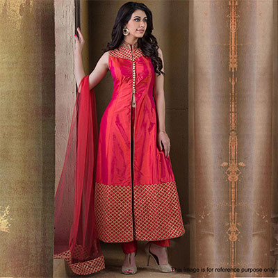 Pink - Red Front Slit Designer Suit