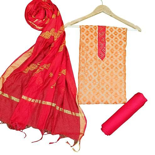 Viva N Diva Orange Colored Jacquard Salwar Suit