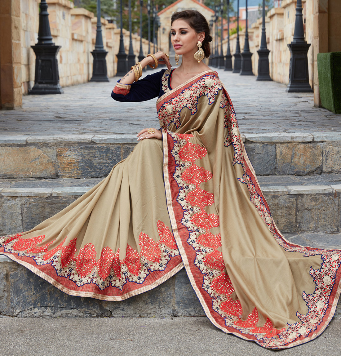 Angelic Cream Designer Partywear Saree