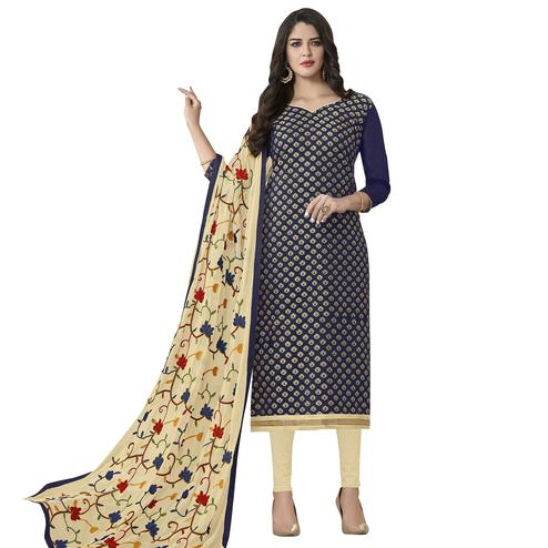 Viva N Diva Navy Blue Colored Banarasi Jacquard Salwar Suit