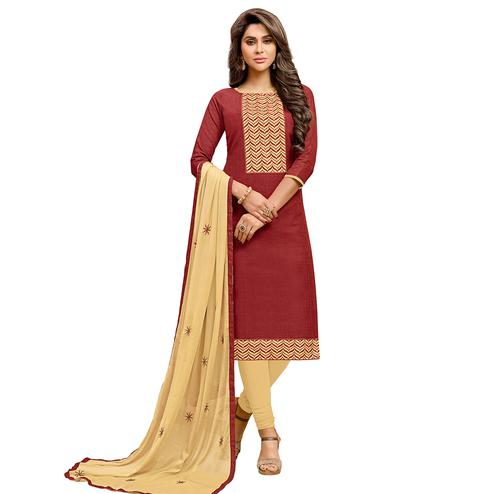 Viva N Diva Maroon Colored Cotton Salwar Suit