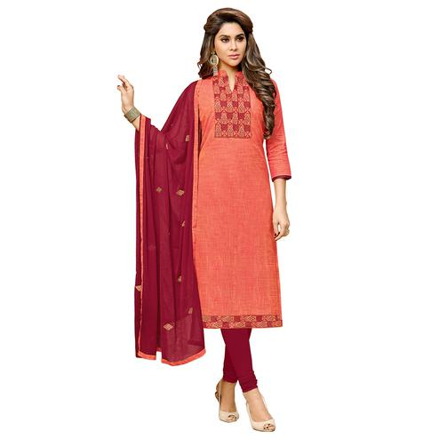 Viva N Diva Peach Colored Cotton Salwar Suit