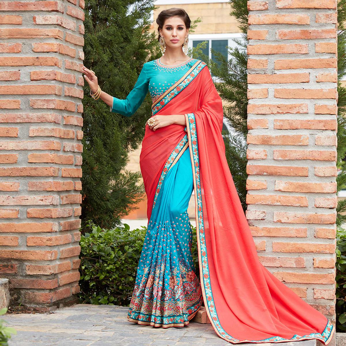 Invaluable Red And Blue Fabulous Designer Saree