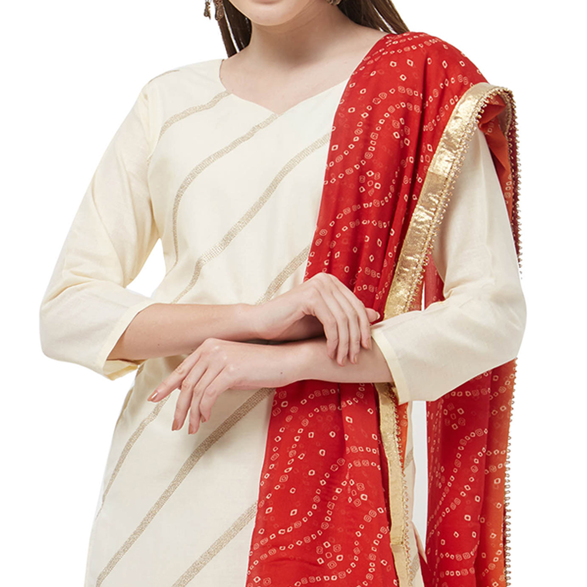 Viva N Diva Off White Colored Cotton Salwar Suit