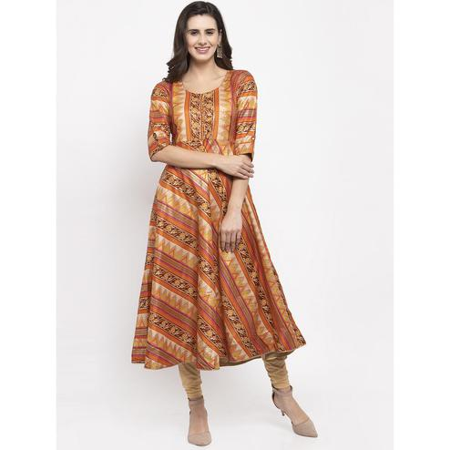 Aujjessa - Rust Orange Colored Casual Wear Geometric Foil Printed Art Silk Kurti