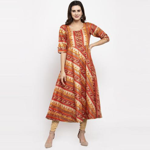Aujjessa - Maroon Colored Casual Wear Geometric Foil Printed Art Silk Kurti