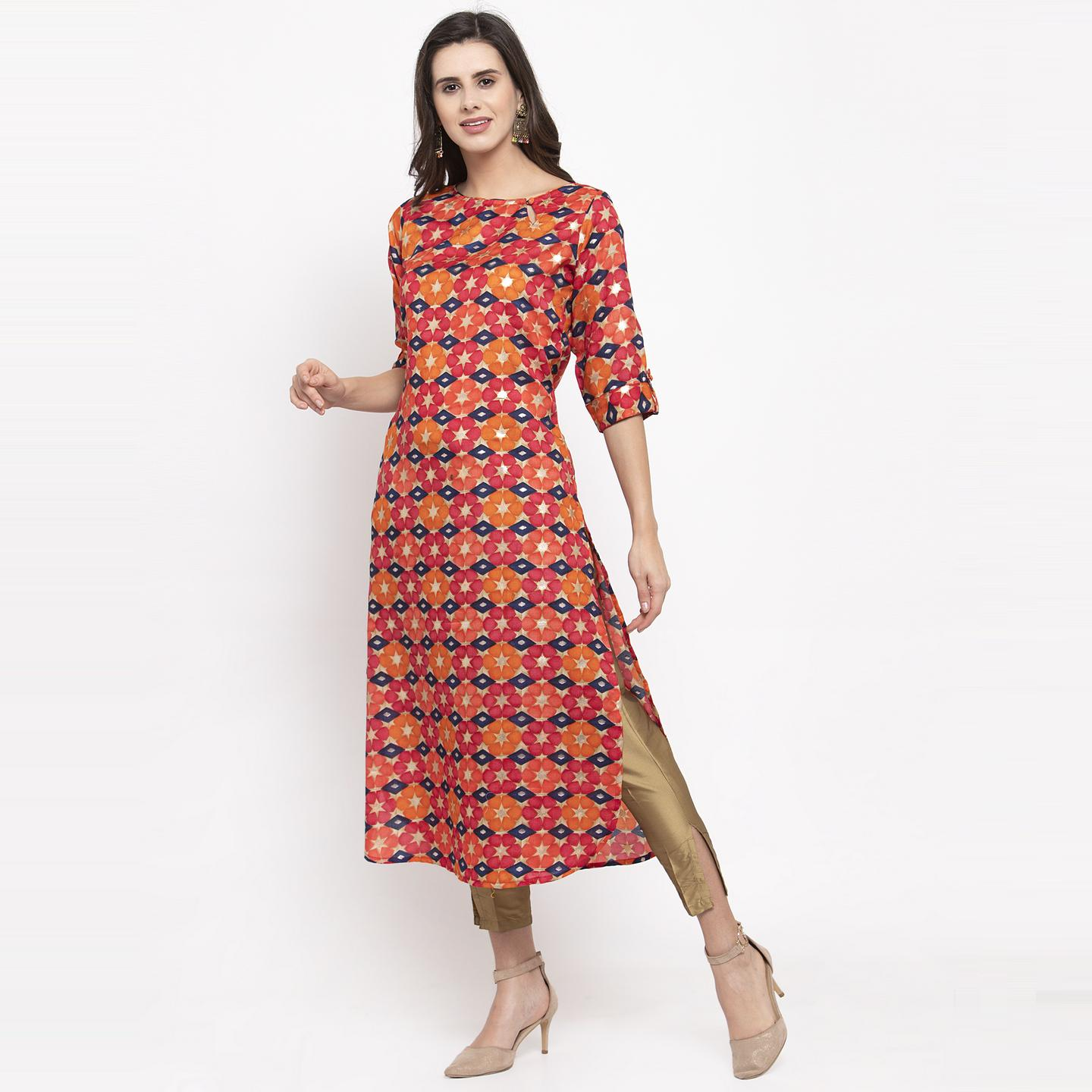Aujjessa - Pink-Orange Colored Casual Wear Floral Printed Art Silk Kurti
