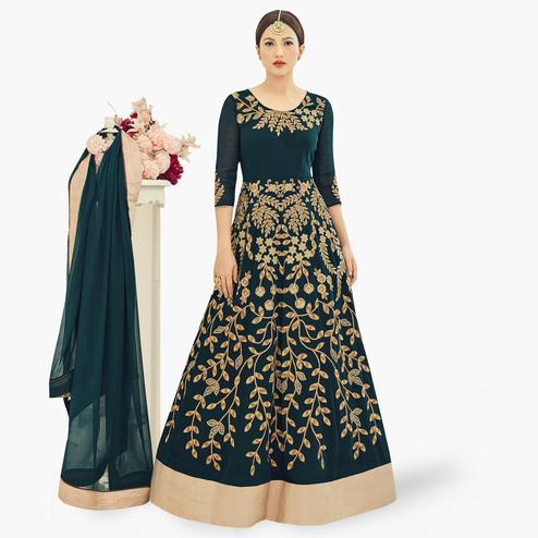 Amazing Dark Teal Green Colored Partywear Embroidered Georgette Anarkali Suit
