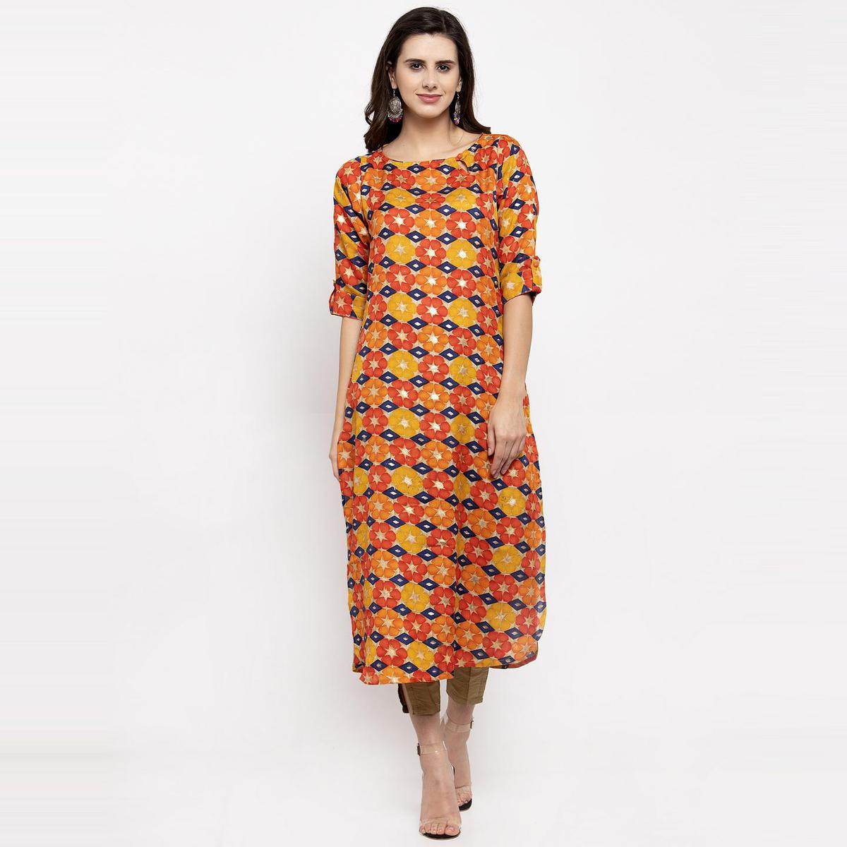 Aujjessa - Orange Colored Casual Wear Floral Printed Art Silk Kurti