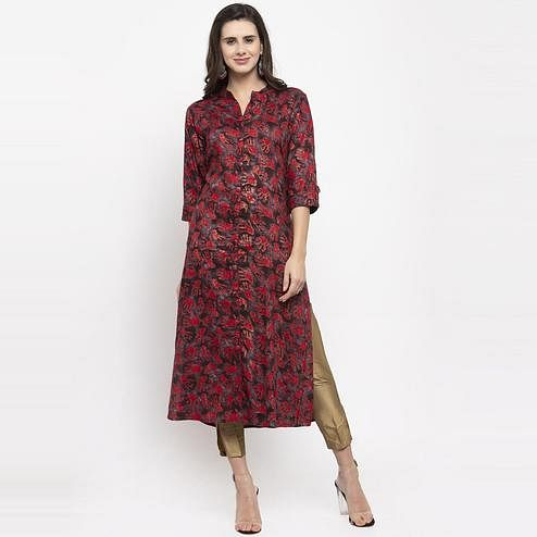 Aujjessa - Brown Colored Casual Wear Abstract Foil Printed Viscose Rayon Kurti