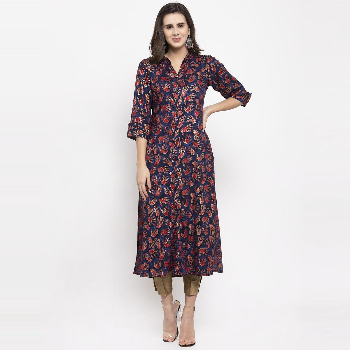 Aujjessa - Navy Blue Colored Casual Wear Abstract Foil Printed Viscose Rayon Kurti