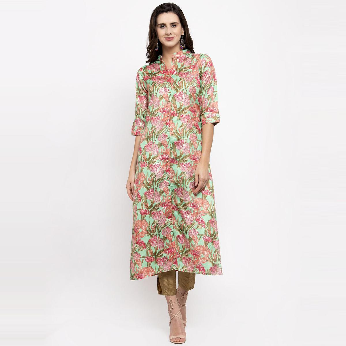Aujjessa - Sea Green Colored Casual Wear Floral Foil Printed Art Silk Kurti