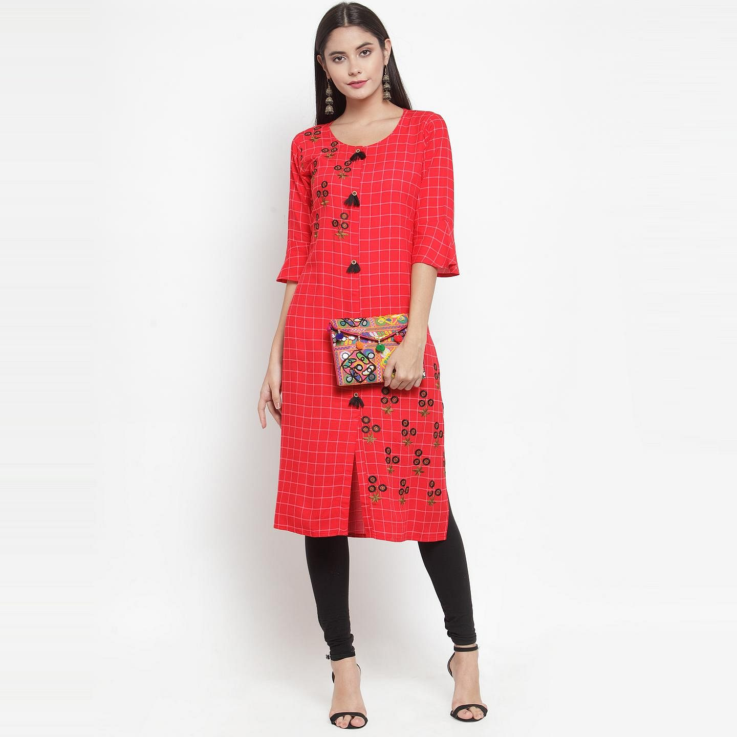 Aujjessa - Red Colored Casual Wear Embroidered Printed Rayon Kurti