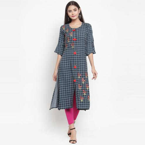 Aujjessa - Grey Colored Casual Wear Embroidered Printed Rayon Kurti