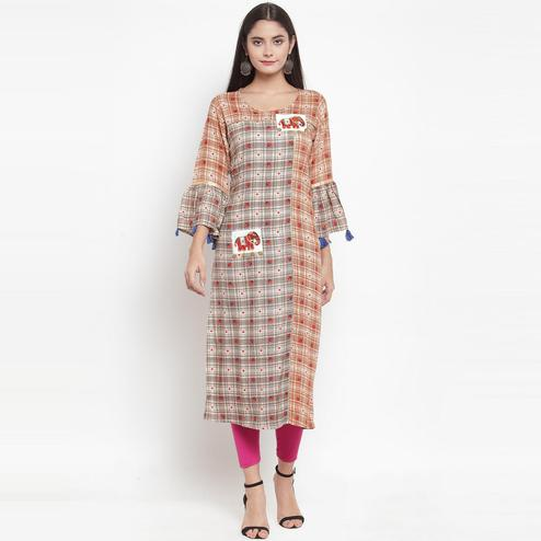 Aujjessa - Grey-Orange Colored Casual Wear Embroidered Printed Rayon Kurti