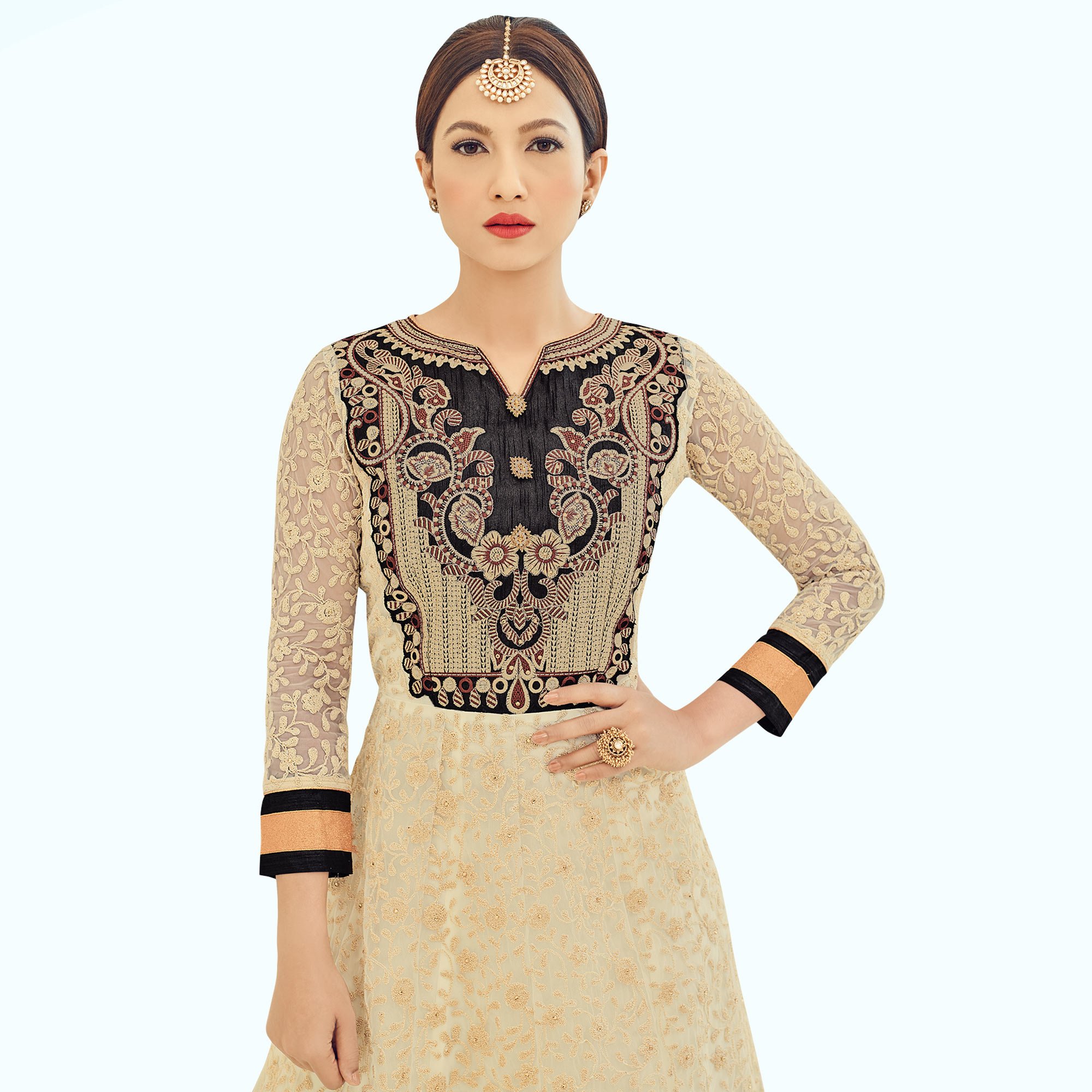 Intricate Cream Colored Partywear Embroidered Net Anarkali Suit