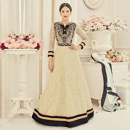 Beige Floor Length Heavy Net Anarkali Suit