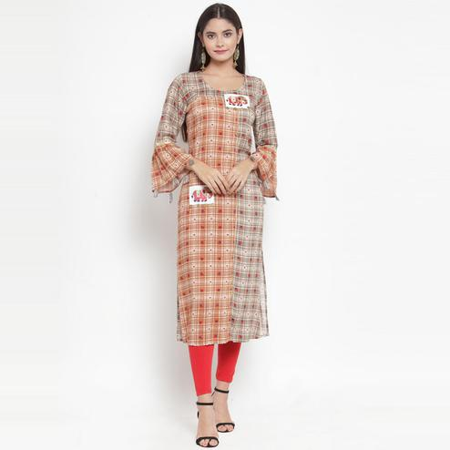 Aujjessa - Orange-Grey Colored Casual Wear Embroidered Printed Rayon Kurti