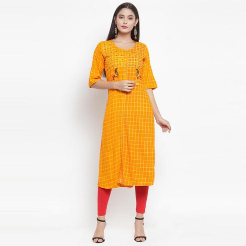 Aujjessa - Mustard Yellow Colored Casual Wear Embroidered Printed Rayon Kurti