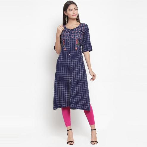 Aujjessa - Indigo Blue Colored Casual Wear Embroidered Printed Rayon Kurti