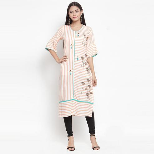 Aujjessa - Off White Peach Colored Casual Wear Embroidered Printed Rayon Kurti