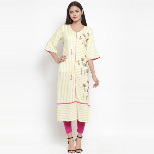 Aujjessa - Off White Yellow Colored Casual Wear Embroidered Printed Rayon Kurti