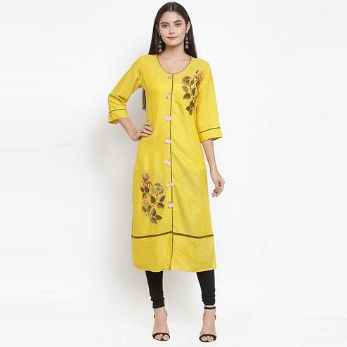 Aujjessa - Yellow Colored Casual Wear Floral Embroidered Rayon Kurti