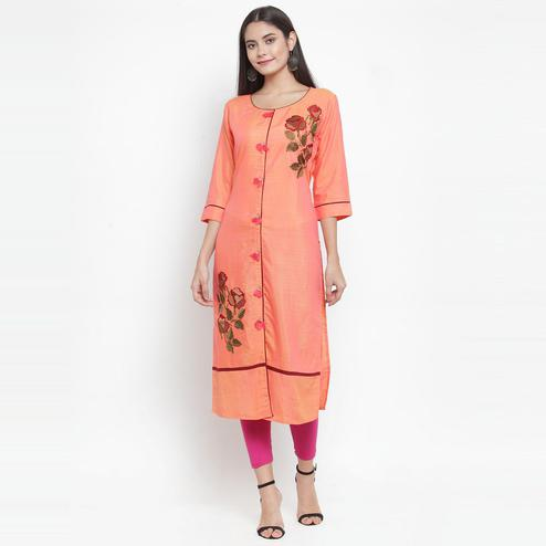 Aujjessa - Orange Colored Casual Wear Floral Embroidered Rayon Kurti