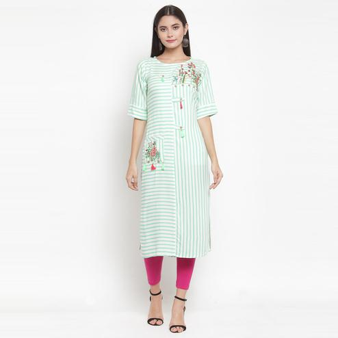 Aujjessa - Off White-Green Colored Casual Wear Embroidered Printed Rayon Kurti