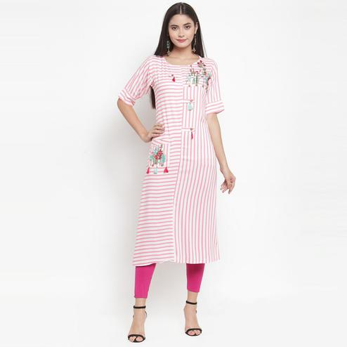 Aujjessa - Off White-Pink Colored Casual Wear Embroidered Printed Rayon Kurti