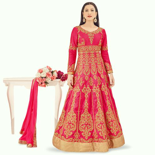 Arresting Dark Pink Colored Partywear Embroidered Silk Anarkali Suit