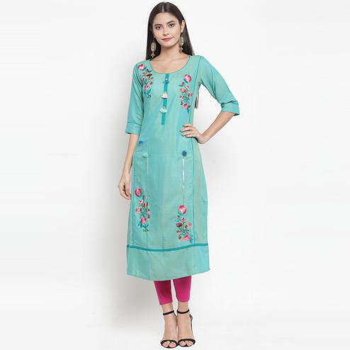 Aujjessa - Green Colored Casual Wear Floral Embroidered Rayon Kurti