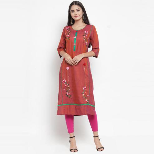 Aujjessa - Maroon Colored Casual Wear Floral Embroidered Rayon Kurti