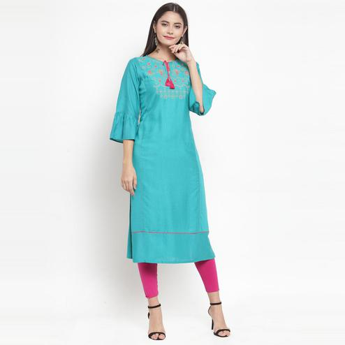 Aujjessa - Turquoise Blue Colored Casual Wear Floral Embroidered Rayon Kurti