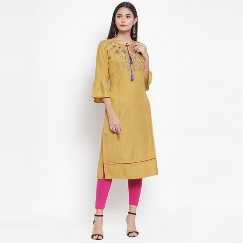 Aujjessa - Beige Colored Casual Wear Floral Embroidered Rayon Kurti