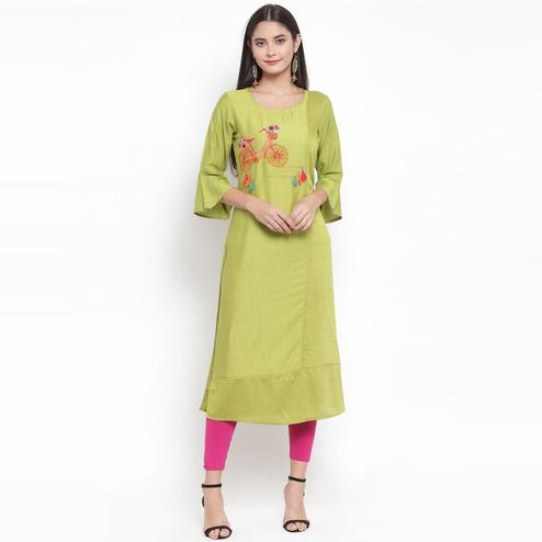 Aujjessa - Green Colored Casual Wear Embroidered Rayon Kurti