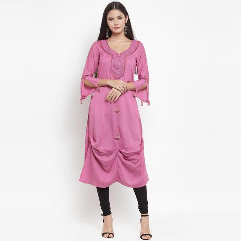 Aujjessa - Pink Colored Casual Wear Embroidered Rayon Kurti