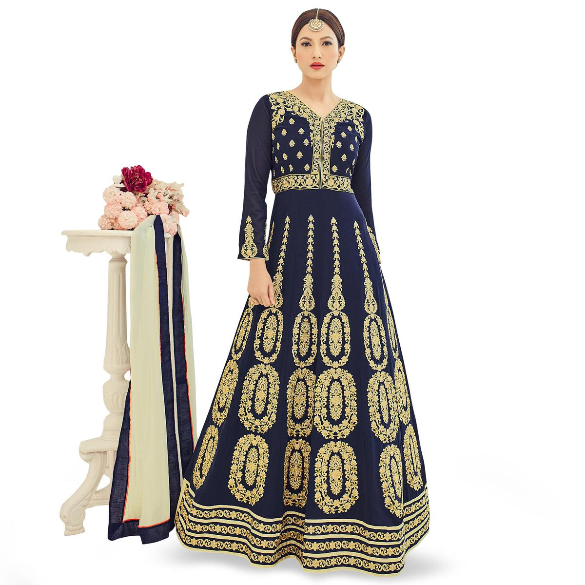 Desirable Navy Blue Colored Partywear Embroidered Georgette Anarkali Suit