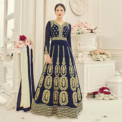 Navy Blue Floor Length Faux Georgette Anarkali