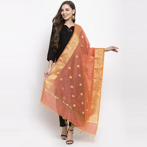 Aujjessa - Peach-Golden  Colored Festive Wear Woven Banarasi Silk Dupatta With Tassels