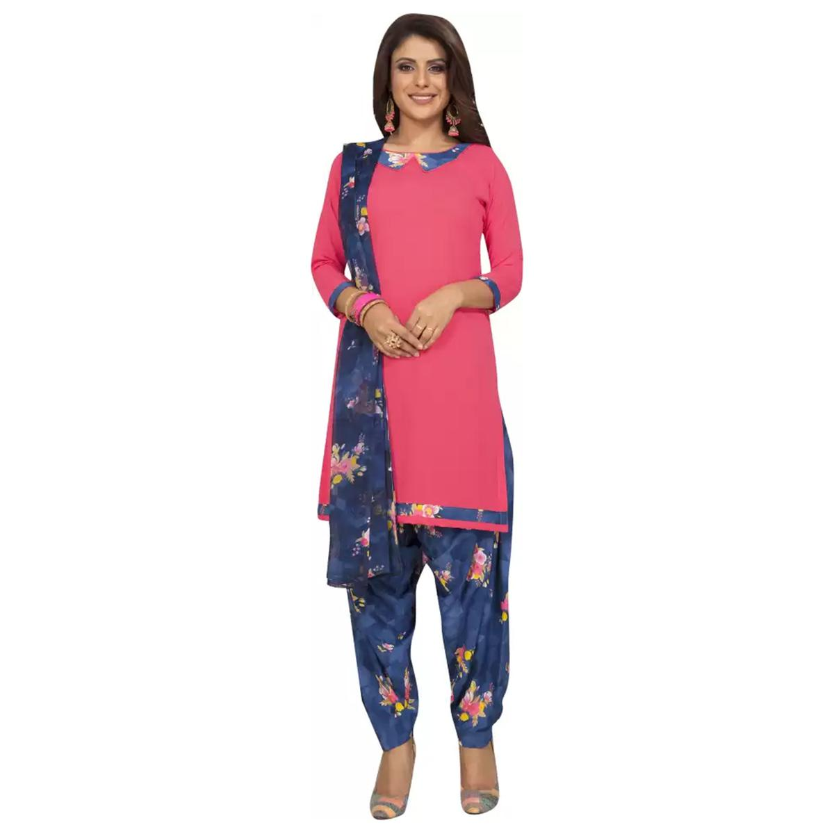 Groovy Pink Colored Casual Wear Floral Printed Crepe Patiala Dress Material