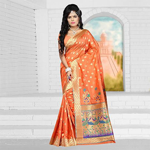 Beautiful Orange Semi Paithani Silk Saree