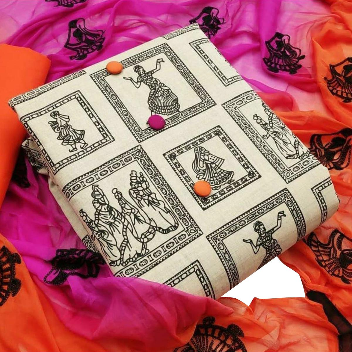 Flattering Beige-Orange Colored Casual Wear Printed Cotton Dress Material