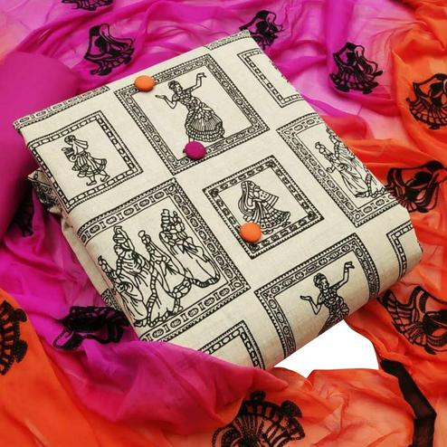 Preferable Beige-Pink Colored Casual Wear Printed Cotton Dress Material