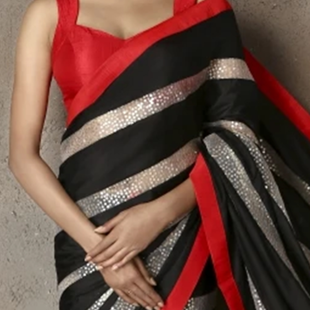 Prominent Black Colored Party Wear sequence Work Georgette Saree