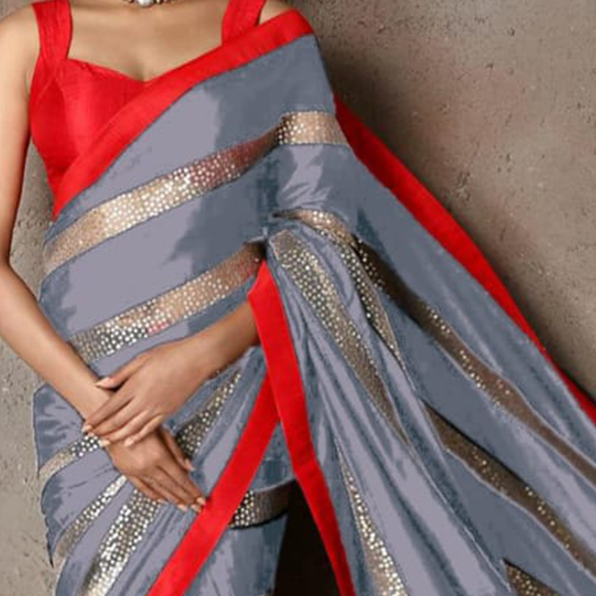 Capricious Grey Colored Party Wear sequence Work Georgette Saree