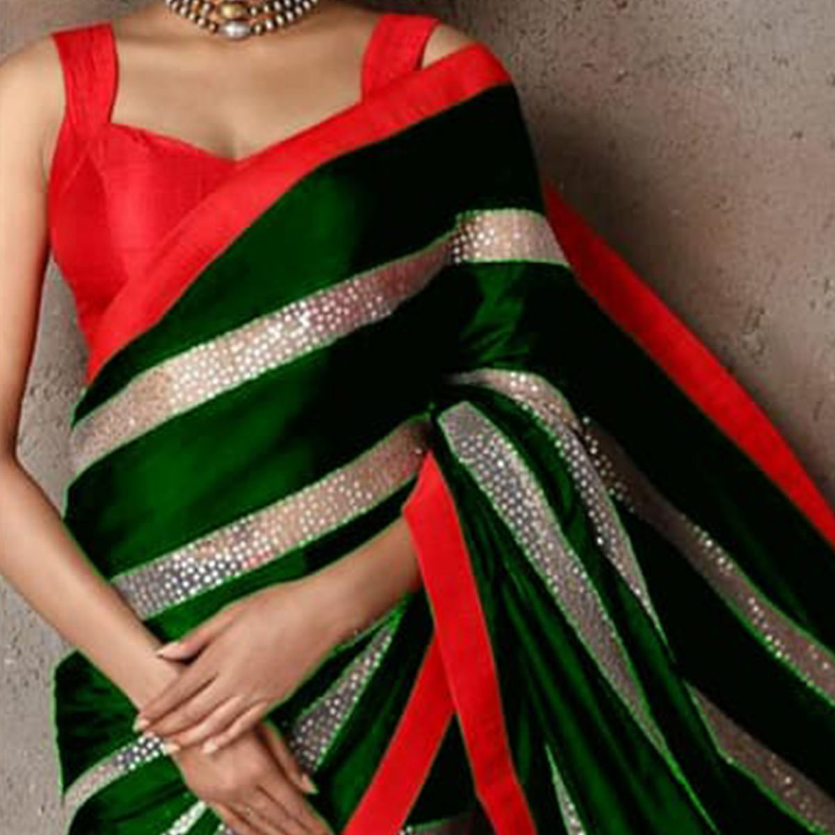 Entrancing Green Colored Party Wear sequence Work Georgette Saree